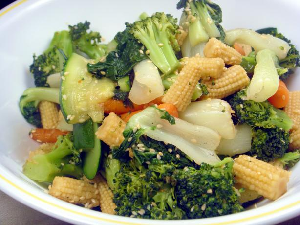 Steamed Vegetables With Honey Sesame Dressing