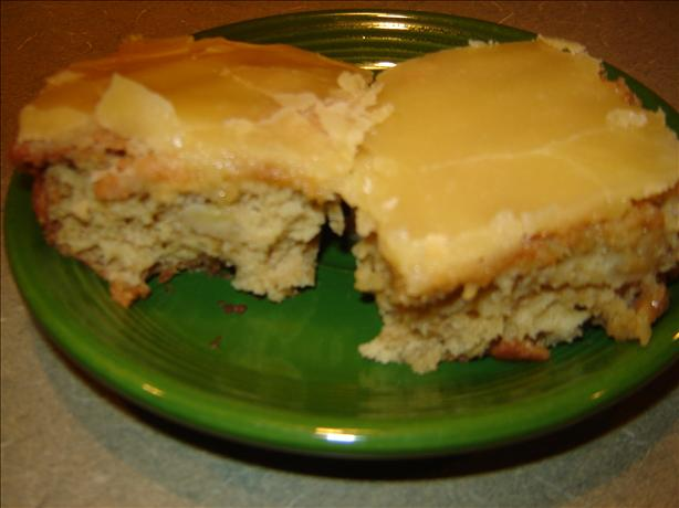 Oatmeal Banana Chunk Bars With Caramel Icing
