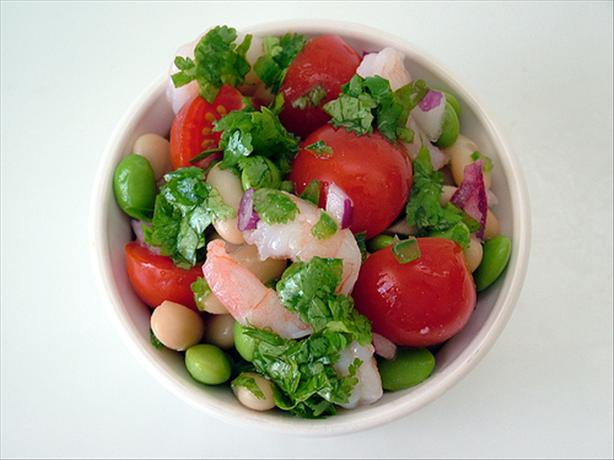 Edamame and Bean Salad With Shrimp and Fresh Salsa