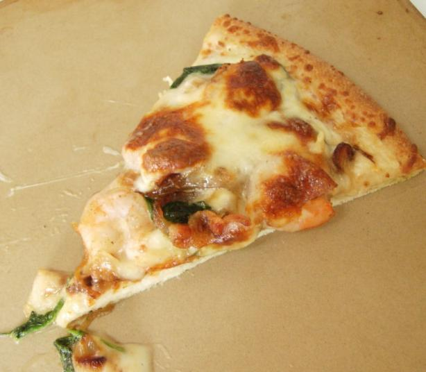 Shrimp Pizza With Spinach and Caramelized Onions