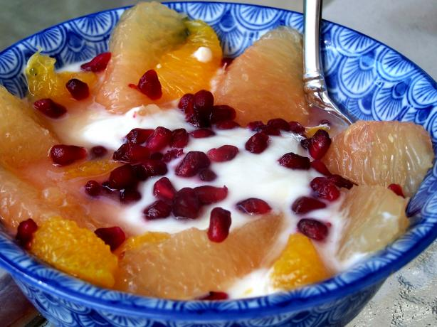 Minted Pomegranate Yogurt With Grapefruit Salad