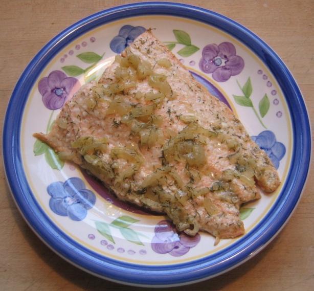 Salmon With Dijon Dill Shallot Sauce