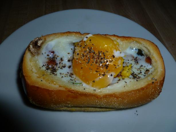 Egg and Goodies in a Bread Bowl