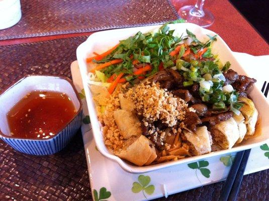 Rice Vermicelli Salad With Grilled Pork and Spring Rolls