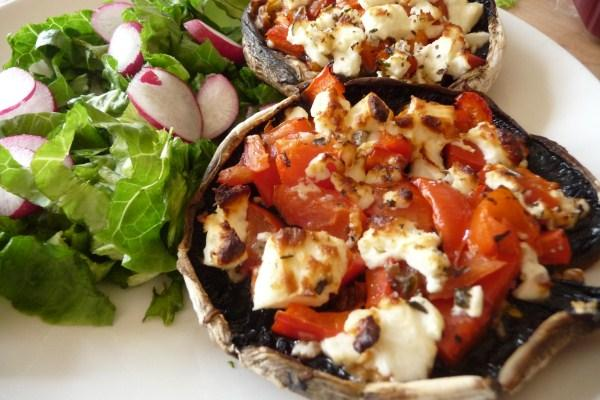 Grilled Portobellos With Pesto, Tomatoes and Feta