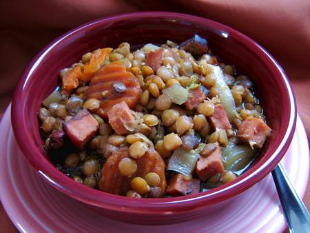 Crock Pot Lentils With Ham and Rosemary