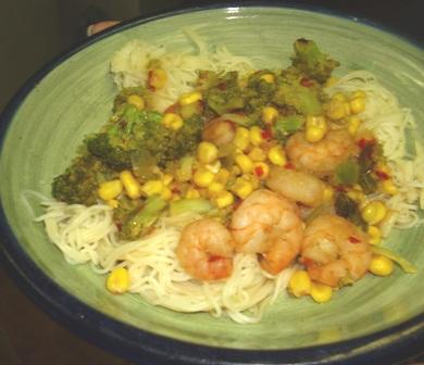 Gingered Shrimp With Corn & Broccoli