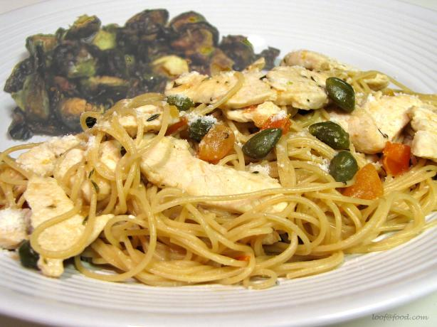 Whole-Wheat Angel Hair Pasta With Chicken & Capers