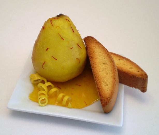 Poached Pears in Saffron Citrus Syrup