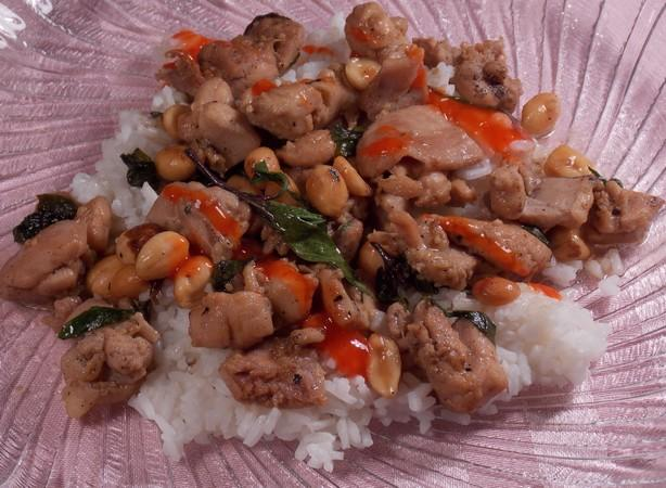 Hot Basil Chicken ( Cha Kdao Sach Maon )
