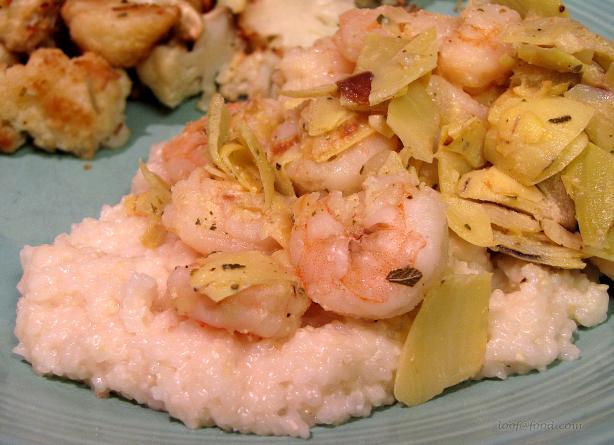 Shrimp and Artichokes over Parmesan Grits