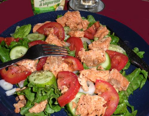 Salmon and Plum Tomato Salad