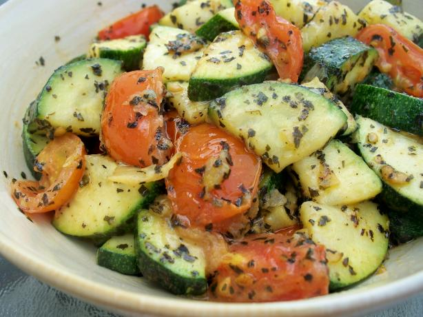 Sauteed Zucchini With Cherry Tomatoes, Garlic and Basil