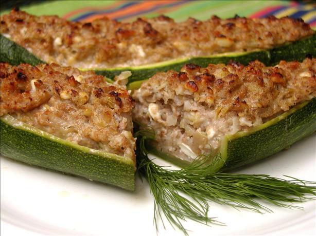 Stuffed Zucchini With Walnuts and Feta