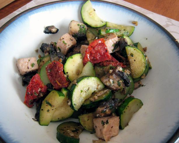 Sauteed Zucchini and Mushroom with Sun-Dried Tomatoes