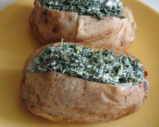 Spinach-Topped Baked Potatoes