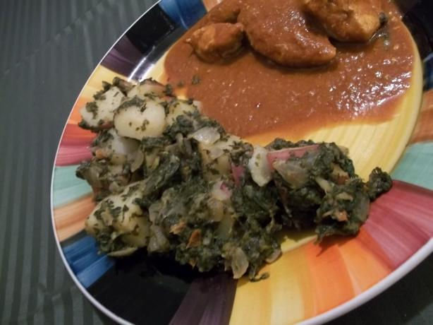 New Potatoes in Spinach Sauce