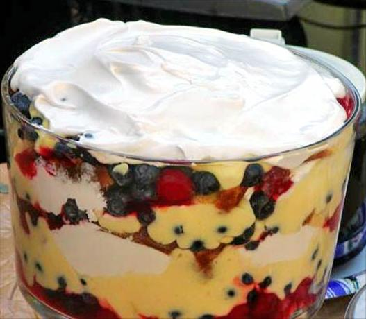 Cherry and Blueberry Trifle