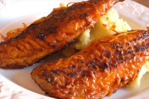 Mackerel With Orange & Harissa Glaze