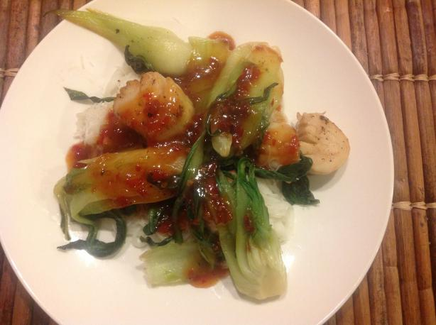 Sweet and Spicy Scallops and Bok Choy