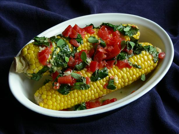 Grilled Corn Cobs With Tomato-Herb Spread