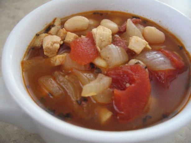 Winter Chicken Soup With Tomatoes and Cannellini Beans