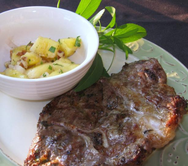 Tarragon-Marinated Lamb Chops With Pineapple Pecan Salsa