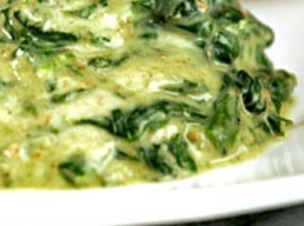 Creamed Fresh Baby Spinach With Basil Pesto