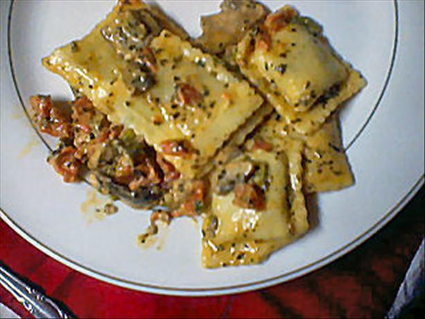 Beef Ravioli in Basil-Cream Sauce