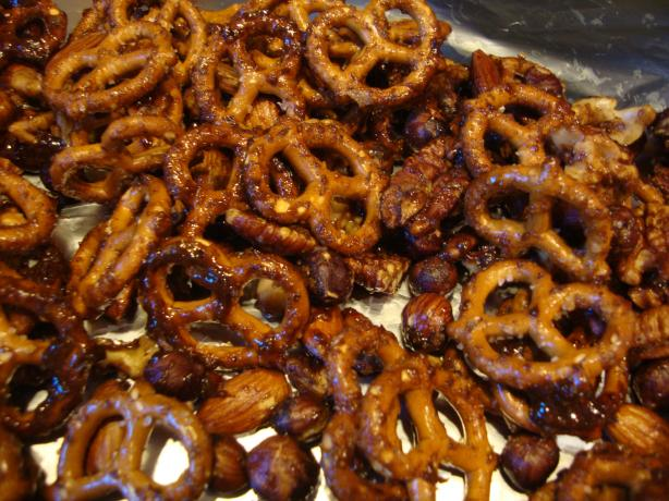 Spiced Glazed Nuts and Pretzel Mix