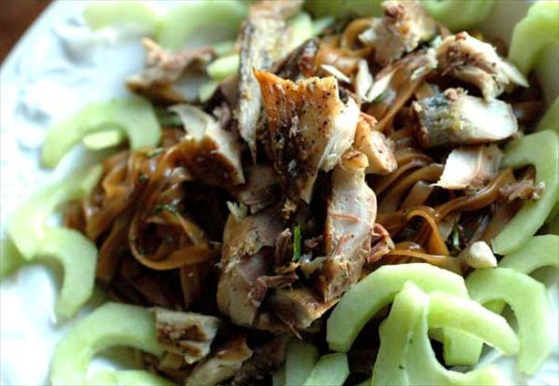 Smoked Mackerel Noodles With Cucumber and Herbs