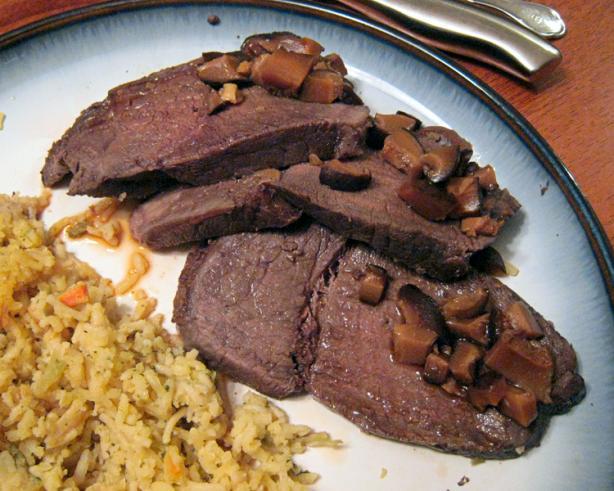 Cured Buffalo Sirloin Roast With Mushroom Jus