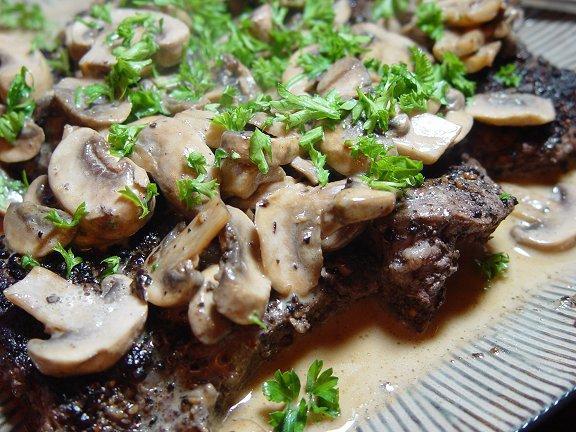 Tournedos Au Poivre Et Champignons(Filet Au Poivre W/Mushrooms)