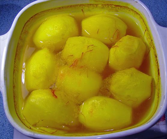 Potatoes Braised in Saffron Stock