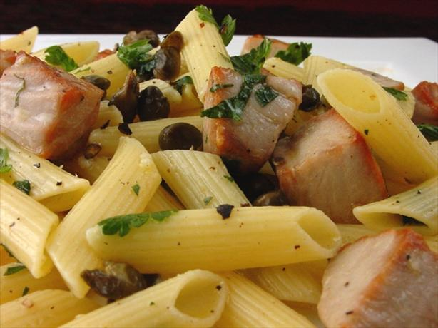 Penne With Grilled Tuna and Crisp- Fried Capers