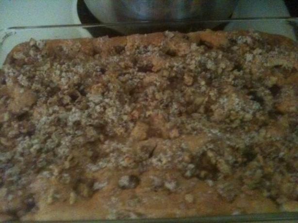 Rhubarb Blueberry Sour Cream Coffee Cake