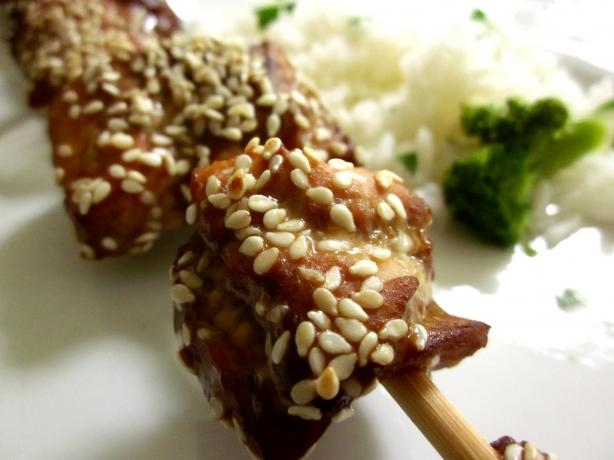 Sesame Roasted Salmon Skewers