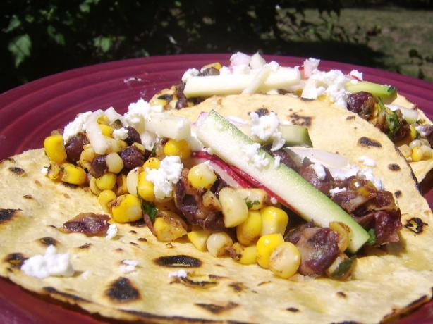 Charred Corn Tacos With Zucchini Slaw