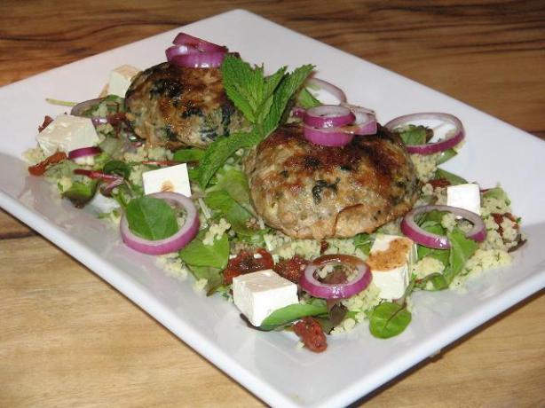 Lamb, Spinach, Feta Burgers