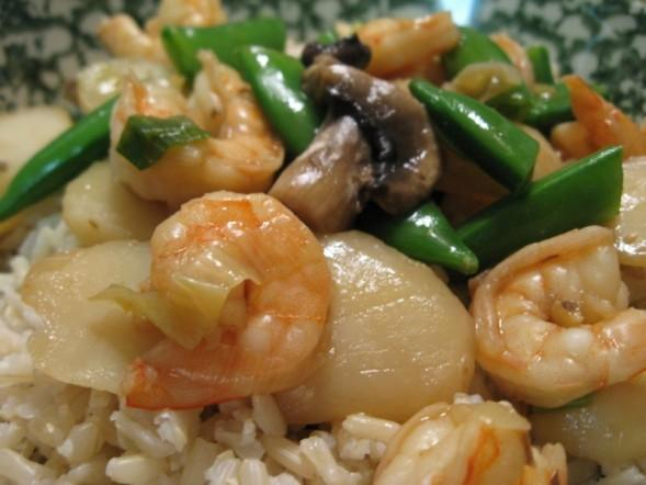 Shrimp With Snow Peas and Water Chestnuts