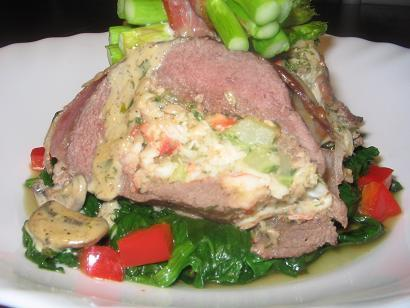 Crab Stuffed Ostrich/Beef Fillet With a Peppercorn Sauce