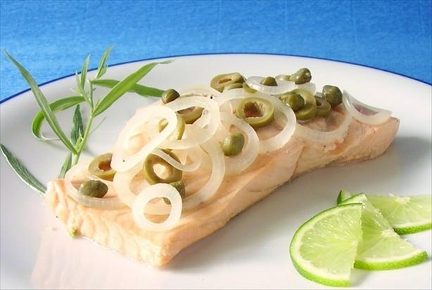 Salmon Poached in Champagne With Capers & Tarragon