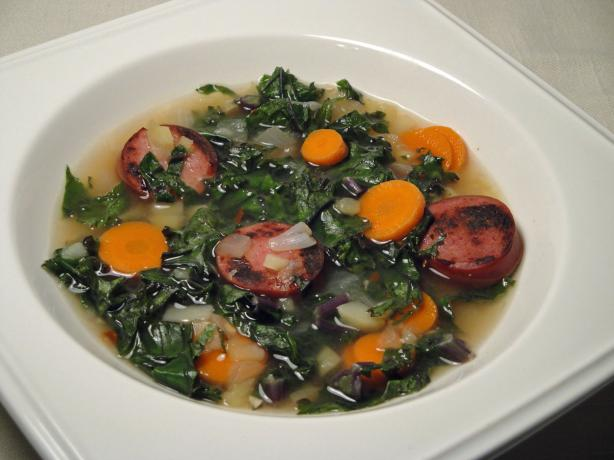 Skinny Portuguese Kale and Potato Soup (Caldo Verde)