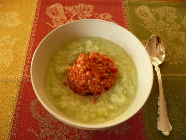 Chilled Cucumber-Yogurt Soup With Bulgur Timbales