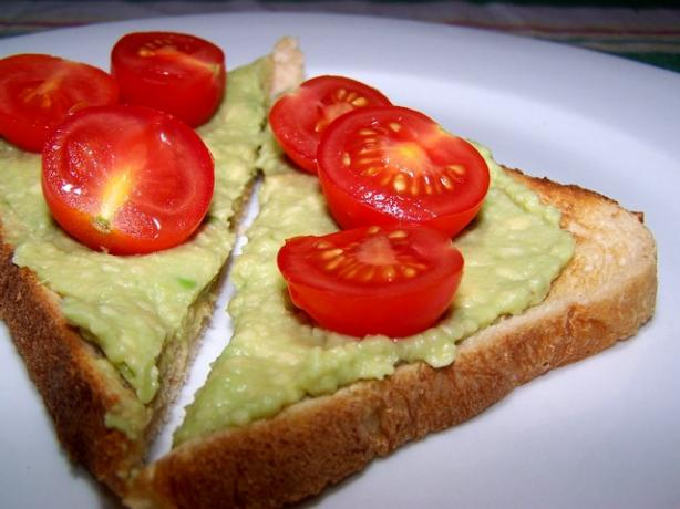Creamy Avocado and Cherry Tomato Toast