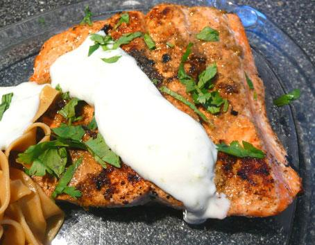 Salmon With Coriander Rub and Lime Cream
