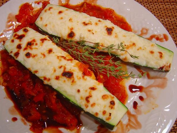 Zucchini Filled With Three Cheeses With Homemade Tomato Sauce