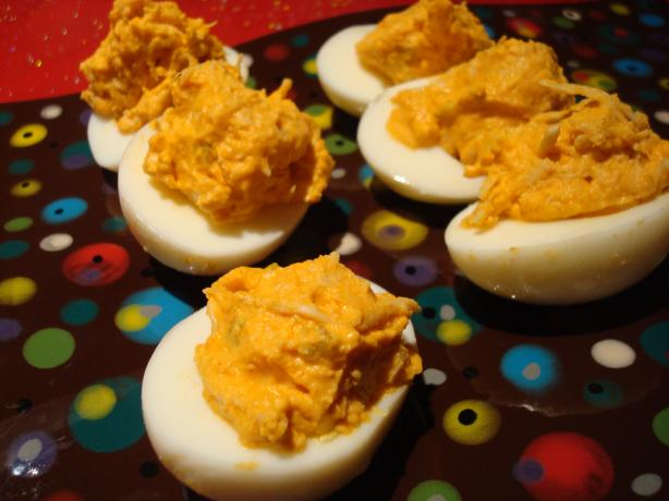 Buffalo Chicken Deviled Eggs (Aka Buffalo Horns)