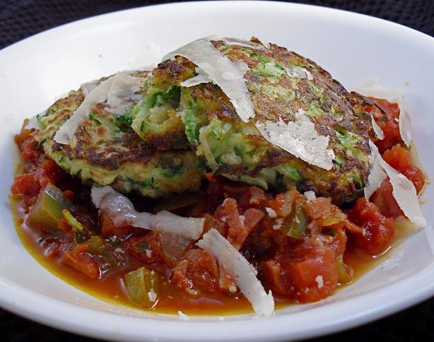 Zucchini Cakes With Diavolo Sauce