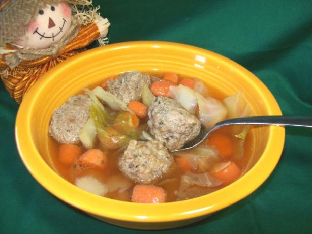 Cabbage,Carrot & Meatball Soup